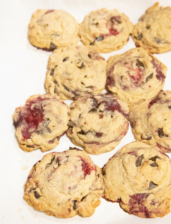 Raspberry Chocolate Chunk Cookies
